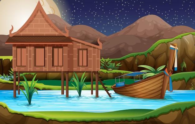 Een traditioneel thais huis Gratis Vector