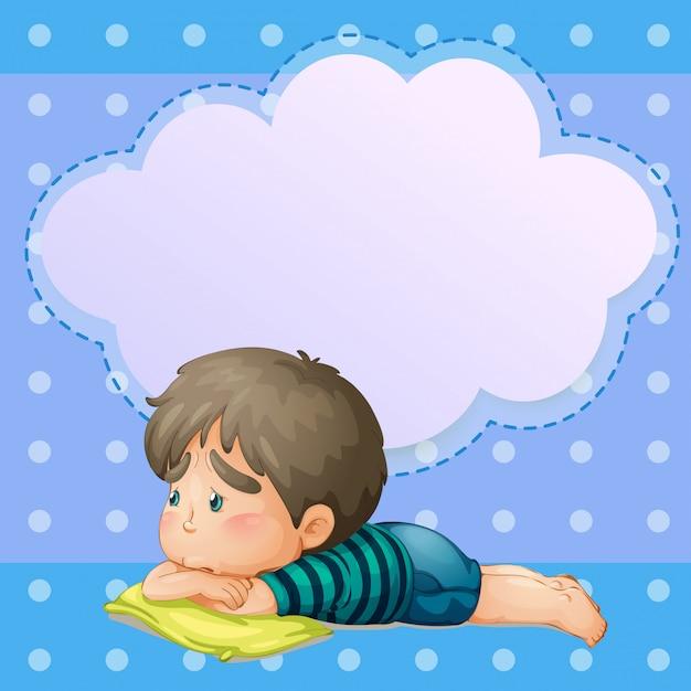 Een trieste jonge jongen met een lege callout Gratis Vector