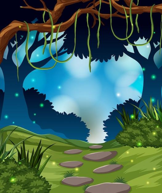 Een tropisch regenwoud achtergrond Gratis Vector