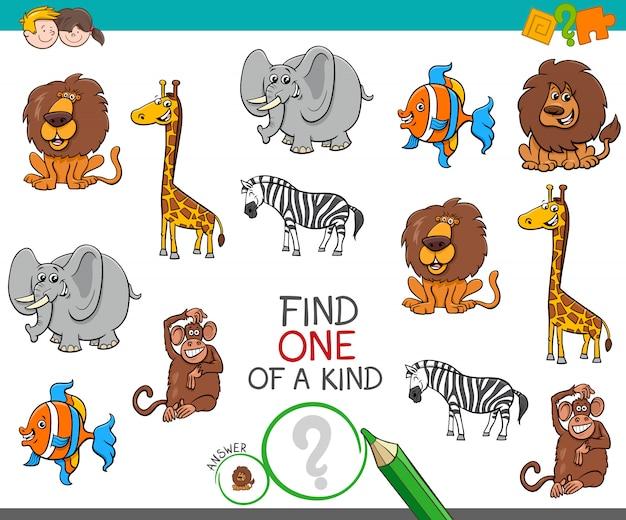Een uniek spel met cartoon wilde dieren Premium Vector