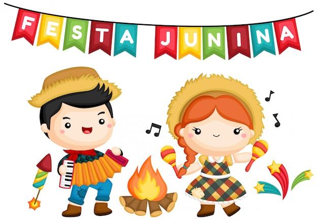 Een van een jongen en een meisje bij het kampvuur tijdens festa junina Gratis Vector