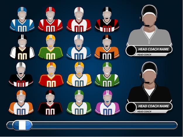 Een vectorillustratie van amerikaans voetbal jersey Premium Vector