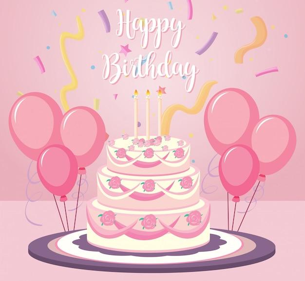 Een verjaardagscake op roze achtergrond Gratis Vector