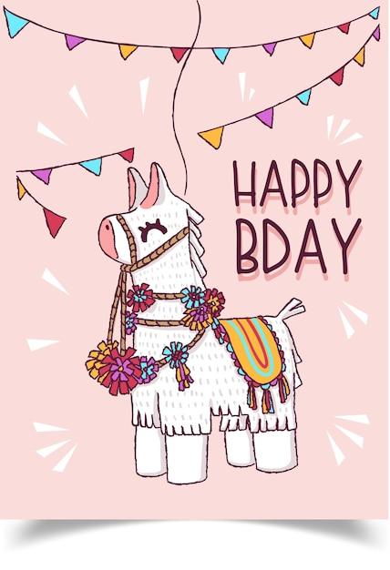 Een verjaardagskaart versierd met een lama met lichaamsversieringen. Gratis Vector