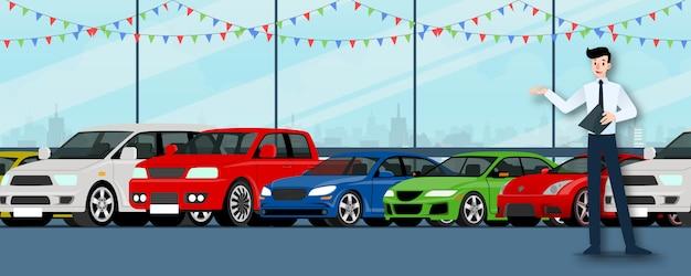 Een verkoper staat voor auto's in de showroom. Premium Vector