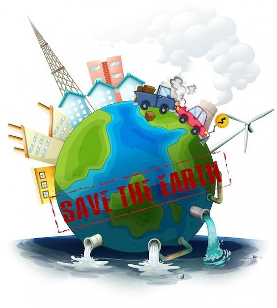 Een vervuilde aarde Gratis Vector