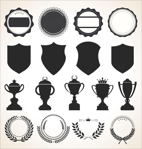 Een verzameling badge-etiketten en linten Premium Vector