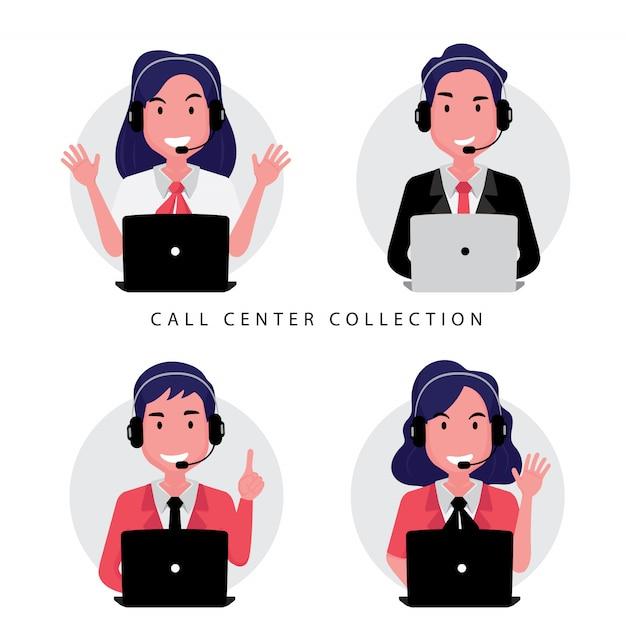 Een verzameling callcenter- of klantenservicemedewerkers, waaronder een vrouw en een man die achter de computer zit Premium Vector