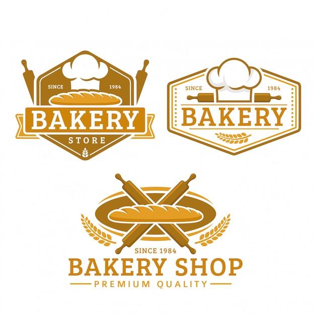 Een verzameling van bakkerij-logosjabloon, bakkerijwinkel, vintage retro-stijl logo-pack Premium Vector