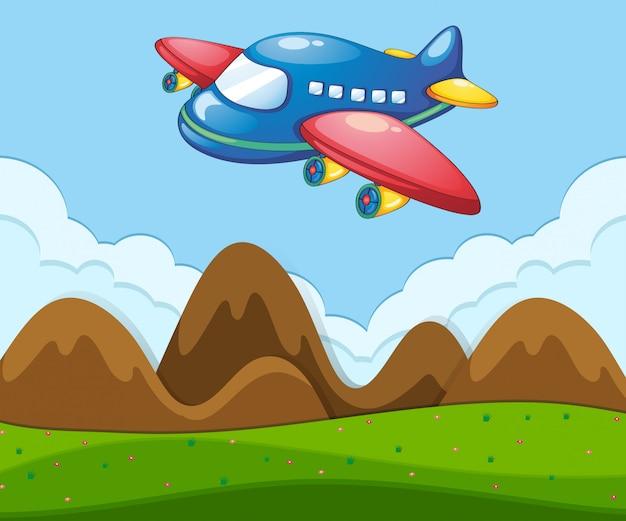 Een vlak landschap met vliegtuig Gratis Vector