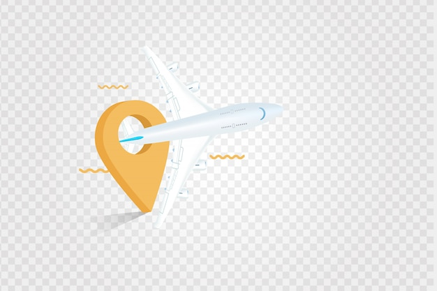 Een vliegtuig en kaartpunt Premium Vector
