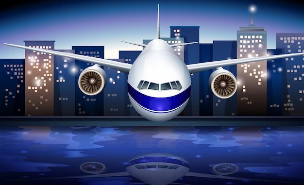 Een vliegtuig in de buurt van de hoge gebouwen Gratis Vector
