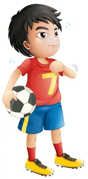 Een voetbal speler karakter Gratis Vector