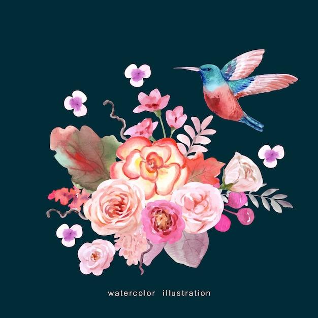 Een vogel met een boeket bloemen Premium Vector