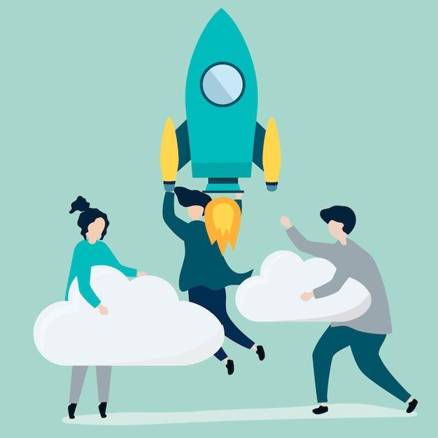 Een volk dat vasthoudt aan een gelanceerde raket en wolken Gratis Vector