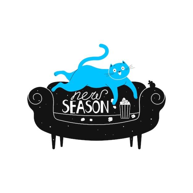 Een vrolijke kat ligt op een bank, kijkt naar een tv-serie en eet popcorn. Premium Vector