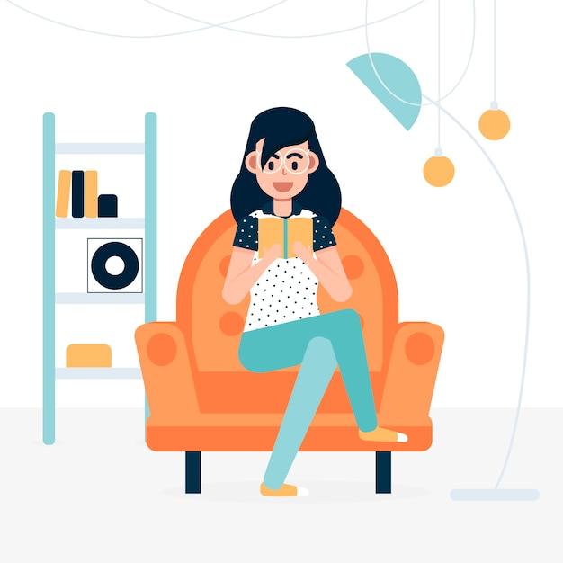 Een vrouw die thuis met een boek ontspant Gratis Vector