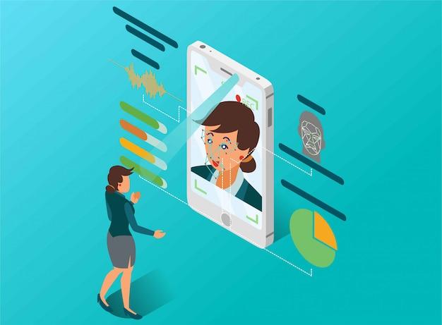 Een vrouw doet een analyse van de persoonlijkheid met de isometrische illustratie van de gezichtsdetectie Premium Vector