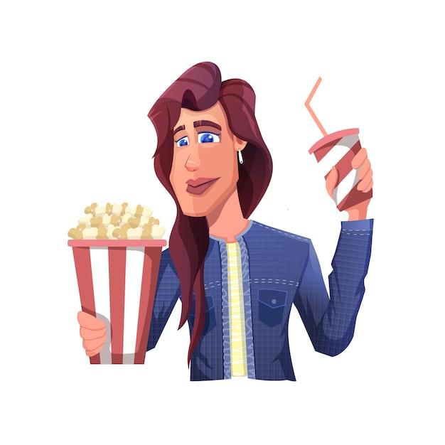 Een vrouw gaat een film kijken tijdens het nieuwe normale tijdperk met popcorn en frisdrank Premium Vector