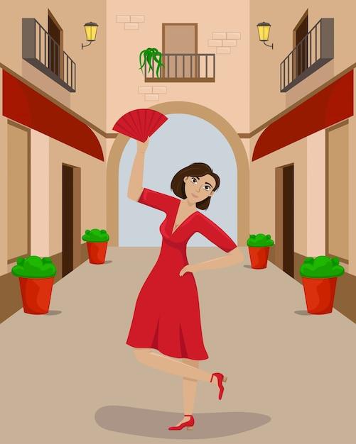 Een vrouw in een rode jurk in een dans pose op een smal europees straatje. Premium Vector