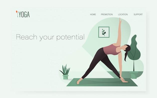 Een vrouw in yoga stelt positie in ui / ux-websitemalplaatje / gezonde sport thuis Premium Vector