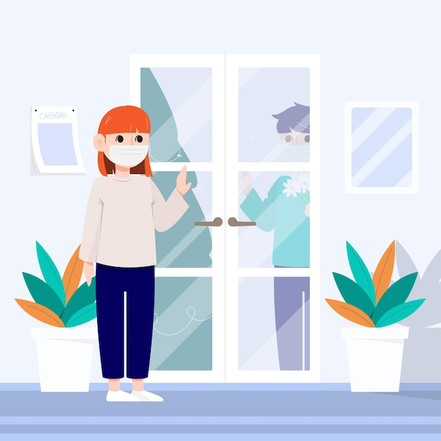 Een vrouw met een masker praat met een man tussen de deur. Gratis Vector