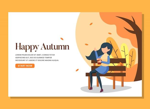 Een vrouw zit op de bank op de warme landingspagina van de herfstdag Premium Vector