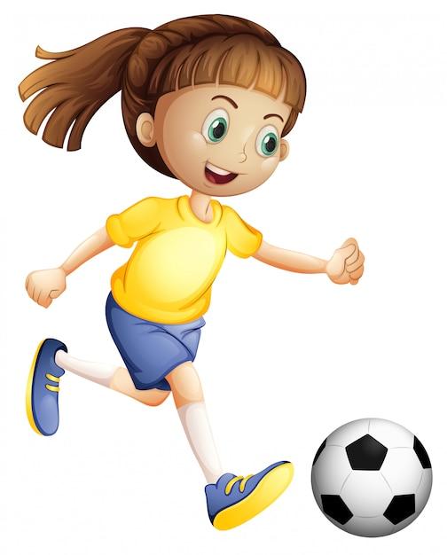 Een vrouwelijk voetbalkarakter Gratis Vector