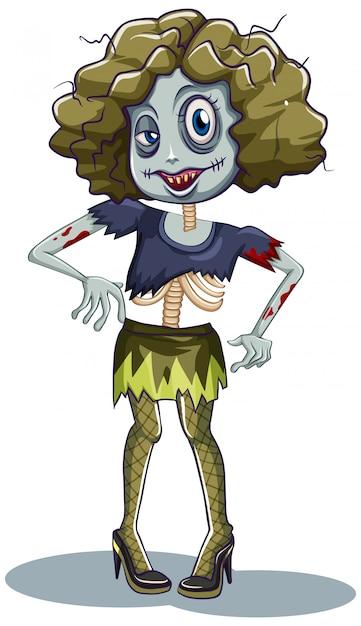 Een vrouwelijk zombiekarakter Gratis Vector