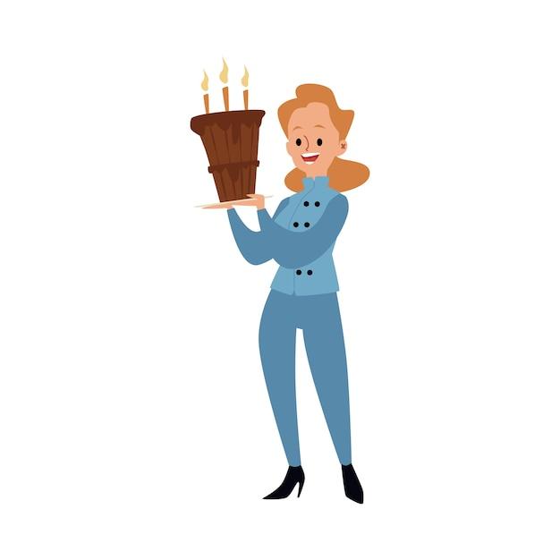 Een vrouwelijke bakker in uniform staat en houdt een grote cake met kaarsen vast. vrouw of meisje bakker en chef-kok koken eten en gebak, cartoon afbeelding. Premium Vector