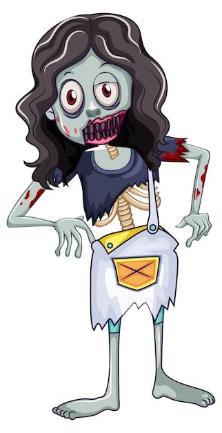 Een vrouwelijke zombie Premium Vector