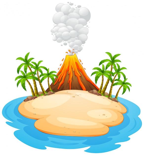 Een vulkaanuitbarstingseiland Gratis Vector