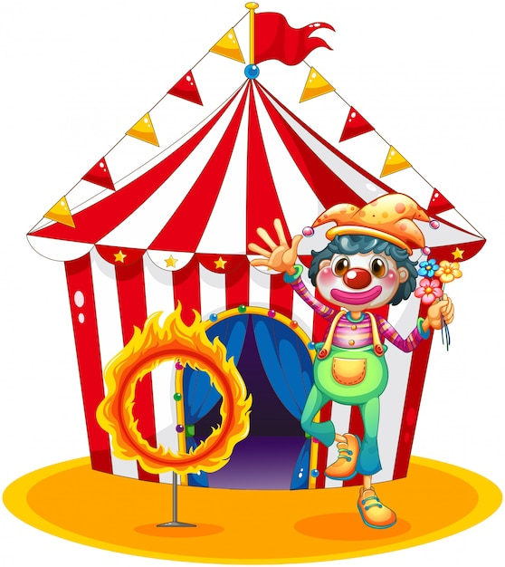 Een vuurring en een clown voor een circustent Gratis Vector