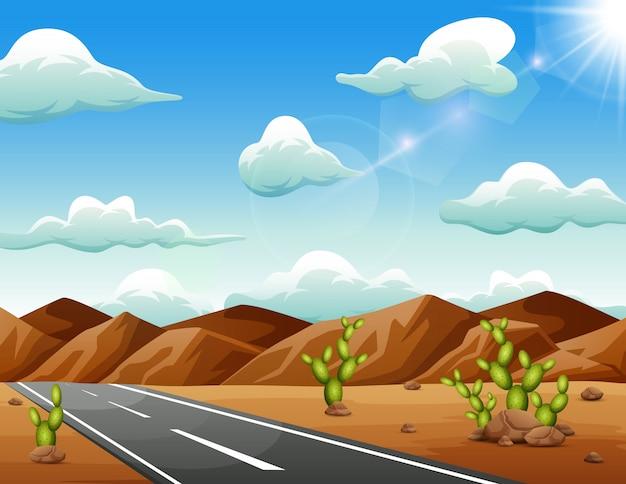 Een weg die leidt naar de bergen in een droge woestijn Premium Vector
