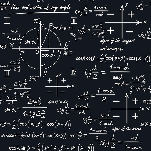 Een wiskundig naadloos patroon met geometrische vormen en formules Premium Vector