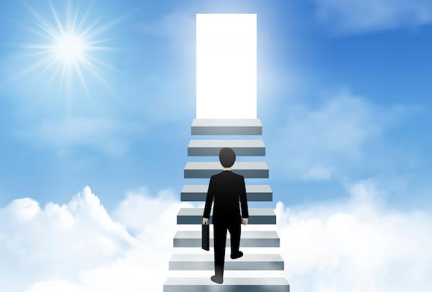 Een zakenman loopt de trap op naar de verlichtingsdeur van succes op hemel Premium Vector