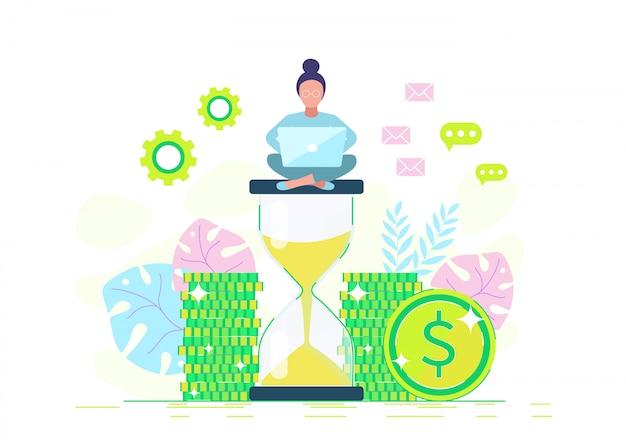 Een zakenvrouw zit op een zandloper en verdient geld. illustratie in een stijl Premium Vector