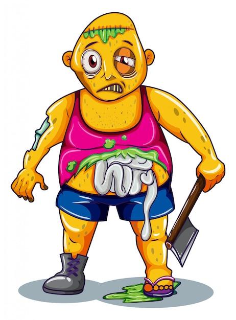 Een zombie met een wapen Gratis Vector