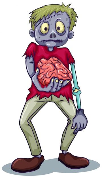 Een zombiekarakter Gratis Vector