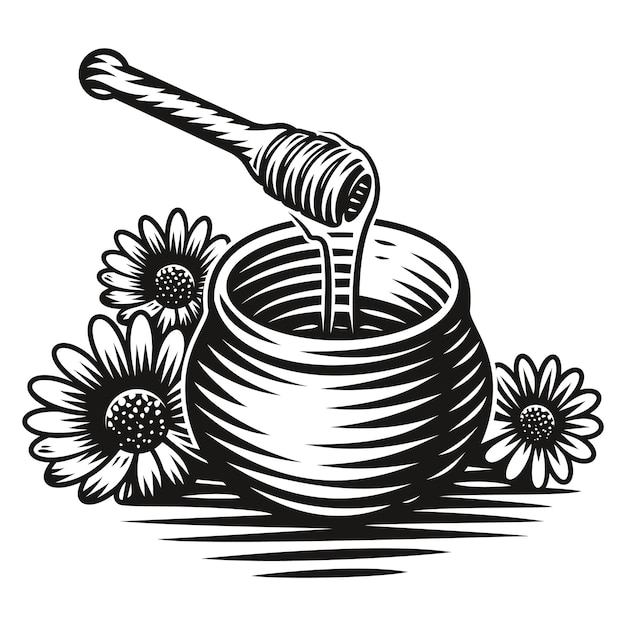 Een zwart-wit afbeelding van een honingpot in gravurestijl op witte achtergrond Premium Vector