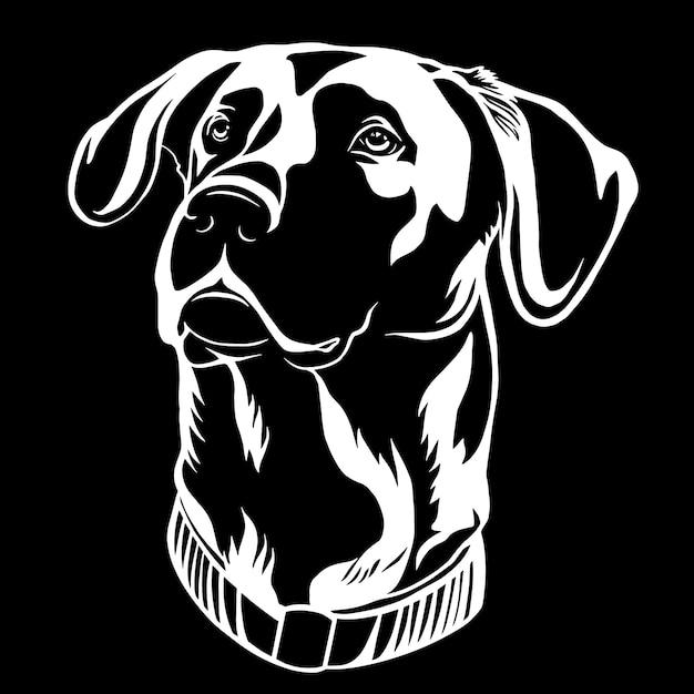 Een zwart-wit afbeelding van zwart-witte jachthond Premium Vector
