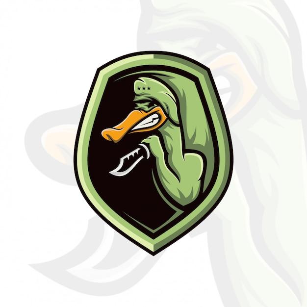 Eend logo spel Premium Vector