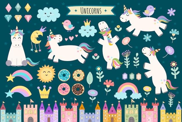 Eenhoorn en sprookje geïsoleerde elementen voor uw ontwerp. kastelen, regenboog, kristallen, wolken en bloemen. leuke clipart-collectie. Premium Vector