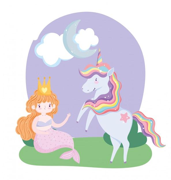 Eenhoorn en zeemeermin karakter gras wolk maan cartoon Premium Vector