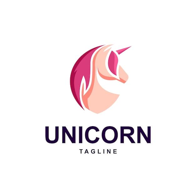 Eenhoorn met schild vorm logo sjabloon Premium Vector