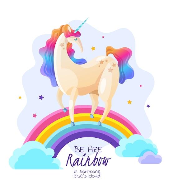 Eenhoorn op regenboog magische illustratie Gratis Vector