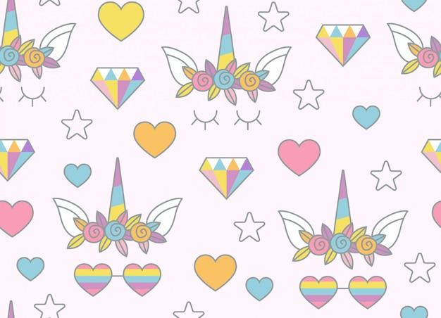 Eenhoorn, regenboog, snoepjes en ander objecten naadloos patroon met lichtrose achtergrond Premium Vector