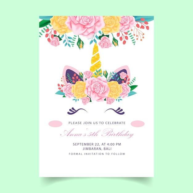 Uitzonderlijk Eenhoorn verjaardag kinderen uitnodiging | Vector | Premium Download @JG94