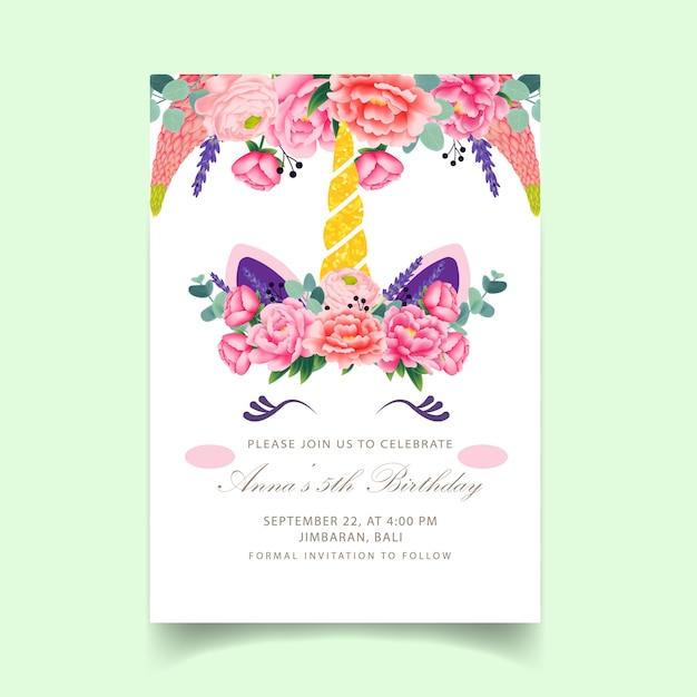 Top Eenhoorn verjaardag kinderen uitnodiging | Vector | Premium Download &DN84