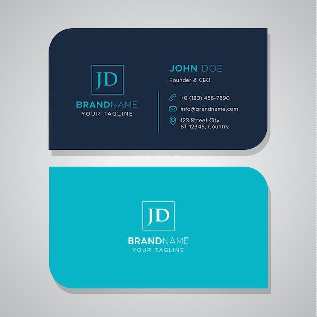 Eenvoudig blauw visitekaartje met diebesnoeiing Premium Vector